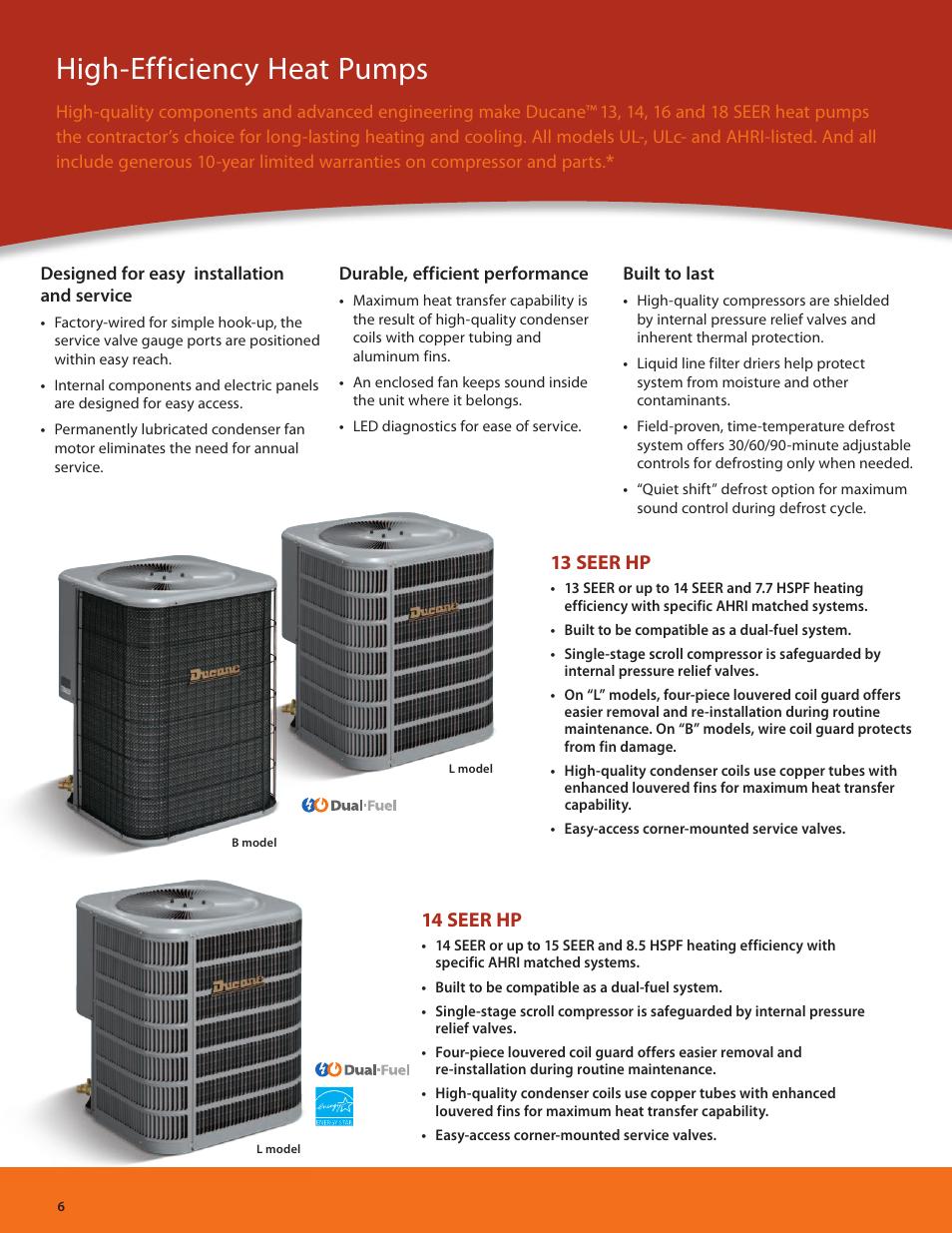 High-efficiency heat pumps, 13 seer hp, 14 seer hp | Ducane (HVAC