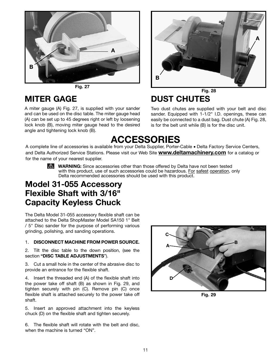 accessories miter gage dust chutes delta sa150 user manual rh manualsdir com