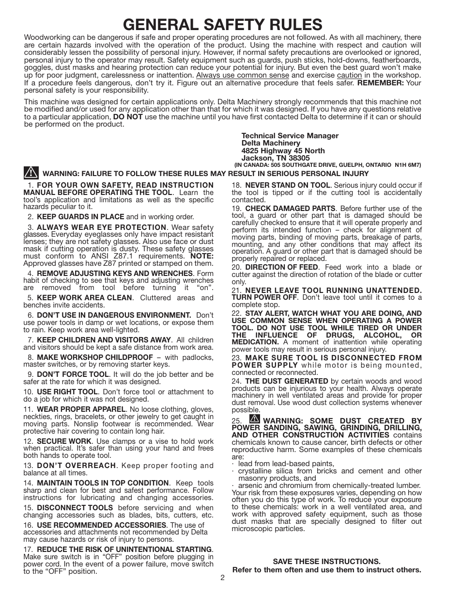 general safety rules delta sa150 user manual page 2 12 rh manualsdir com