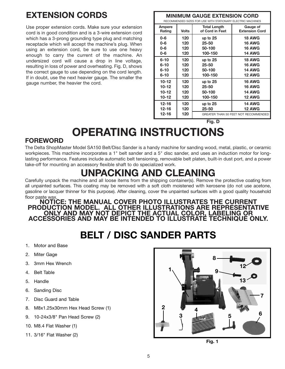 operating instructions unpacking and cleaning belt disc sander rh manualsdir com