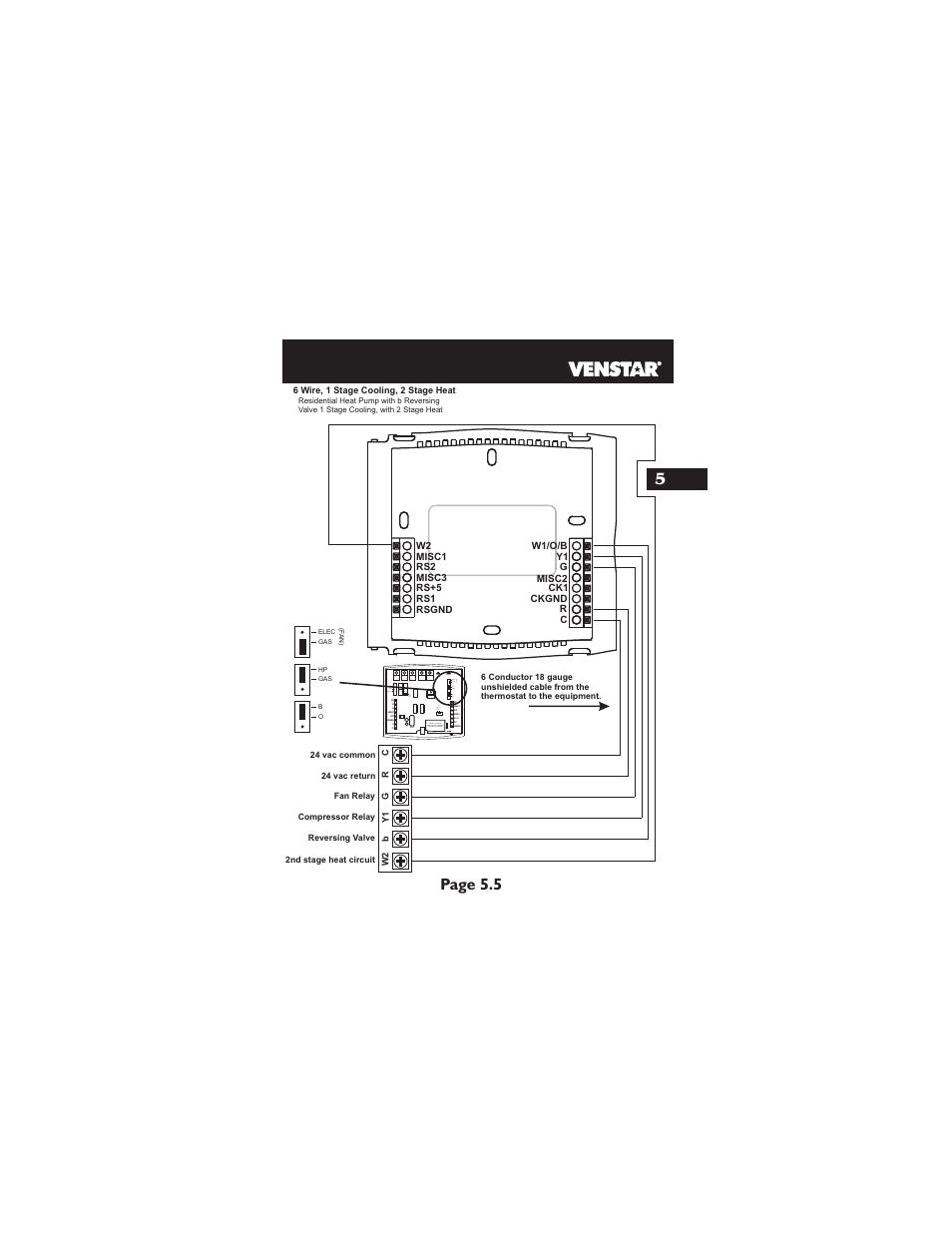 Page 5 5, Hp gas b o elec gas (f a n ) | Venstar T2700 Installation