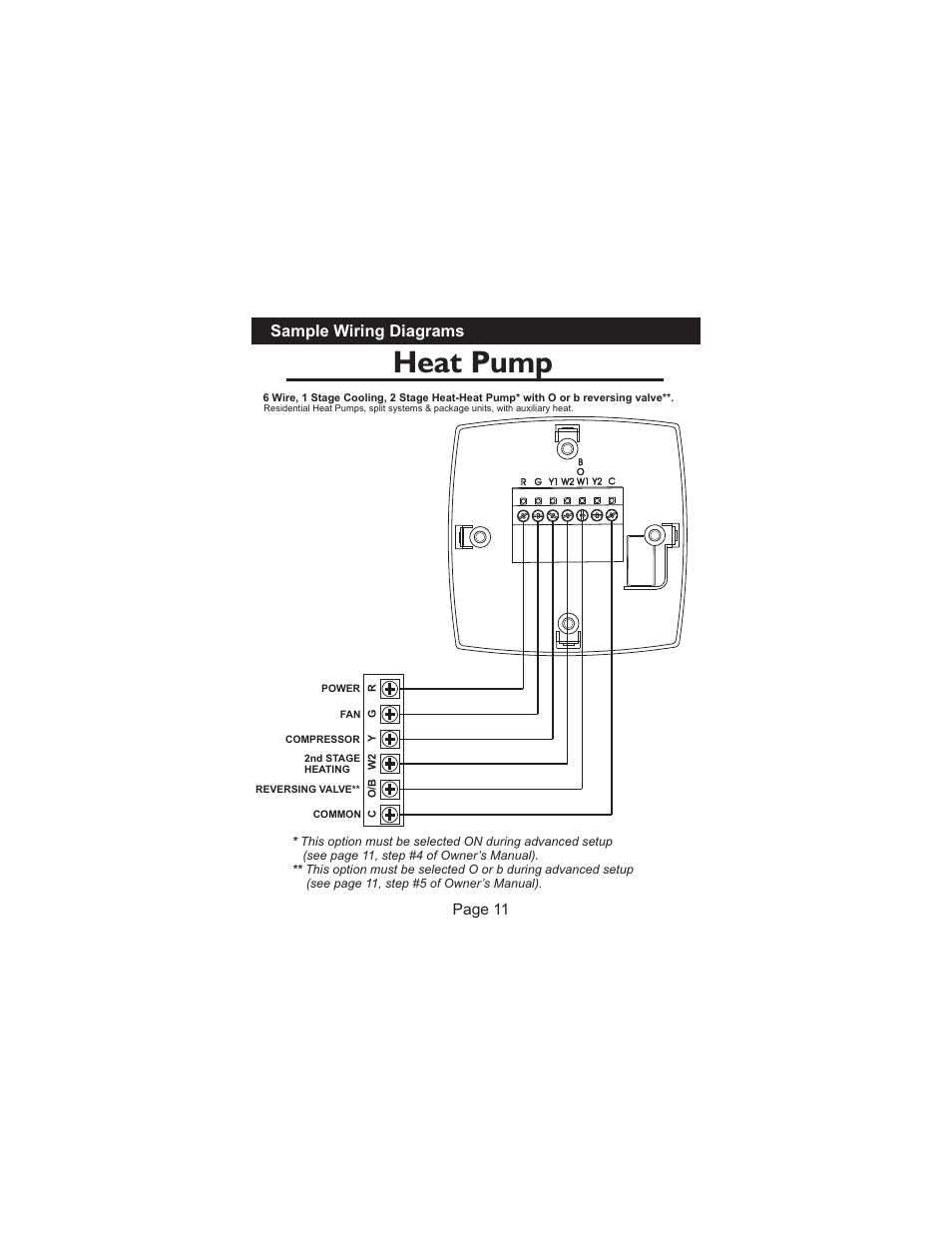 Heat pump, Sample wiring diagrams, Page 11 | Venstar T1010 Installation  User Manual | Page 12 / 15