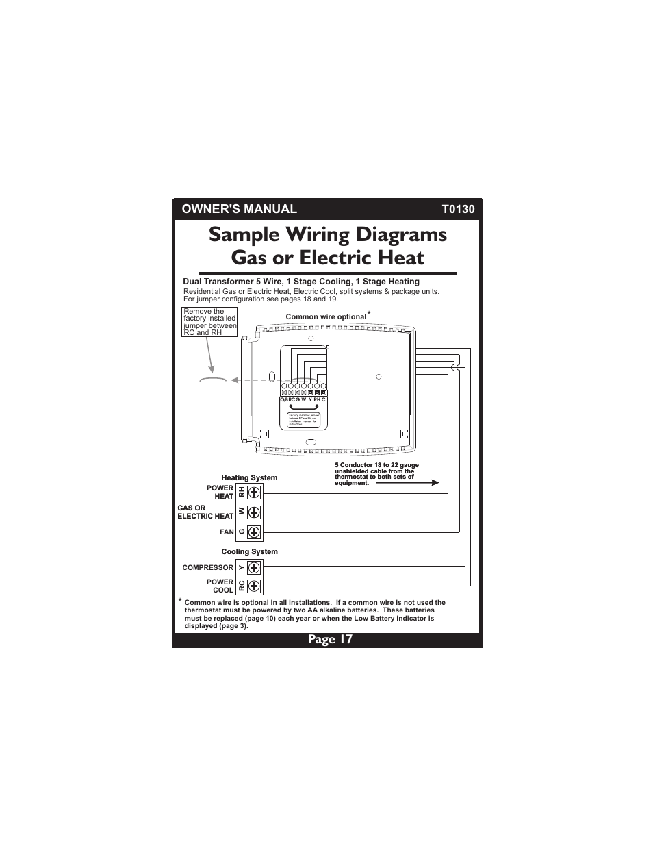 Sample Wiring Diagrams Gas Or Electric Heat Page 17 Owners Manual Thermostat Two Transformers Venstar T0130 User 25