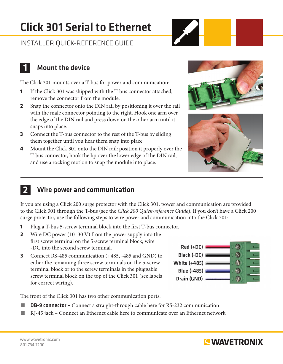 Wavetronix Click 301 Serial To Ethernet Converter Clk Straight Through Cable Quick Reference Guide User Manual 4 Pages
