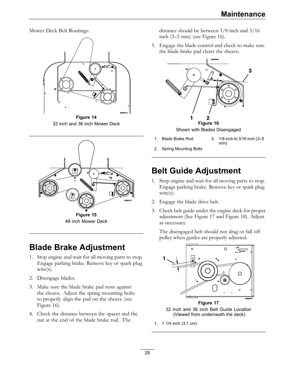 Blade Brake Adjustment Belt Guide Adjustment Maintenance Exmark Metro 4500 352 User Manual Page 29 40
