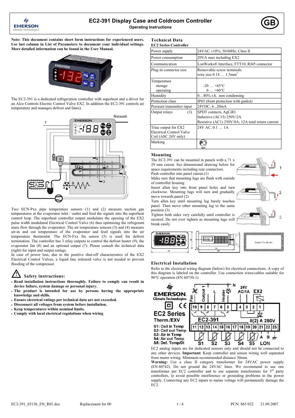 emerson display case and cold room controller ec2 391 page1 emerson display case and cold room controller ec2 391 user manual cold room control panel wiring diagram at gsmx.co