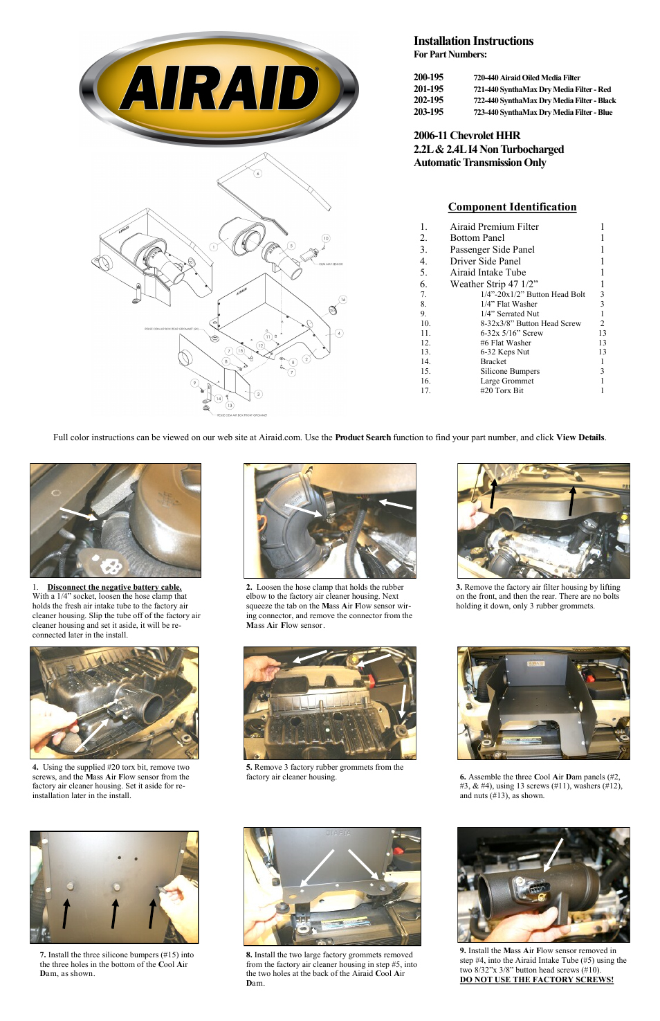 Airaid 200-195 User Manual | 2 pages | Also for: 201-195