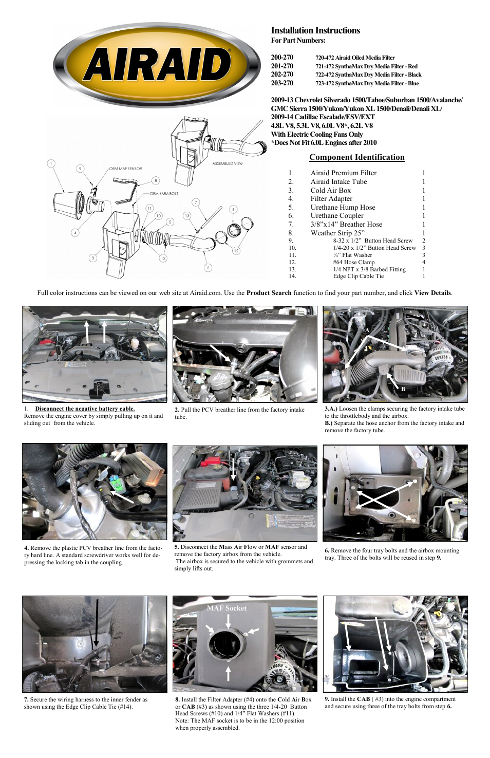 Airaid 200 270 User Manual 2 Pages Also For 201 202 Plastic Wiring Harness Clips Car 203