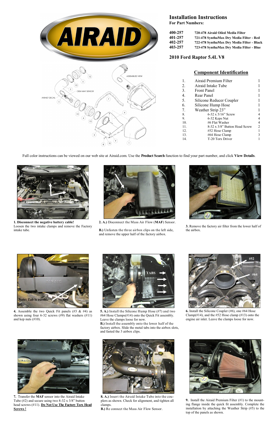 Airaid 400-257 User Manual | 2 pages | Also for: 401-257, 402-257