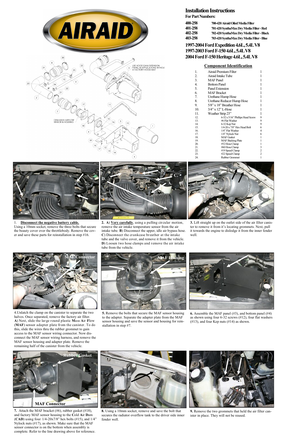 airaid 400-258 user manual | 2 pages | also for: 401-258, 402-258, 403-258