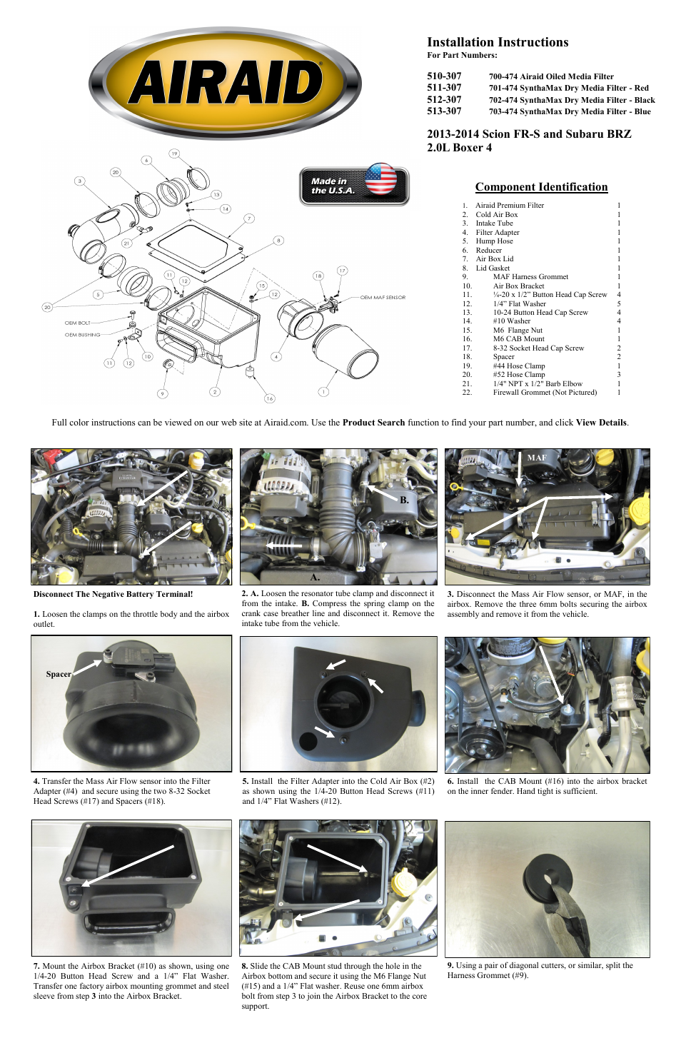 Airaid 510-307 User Manual | 2 pages | Also for: 511-307