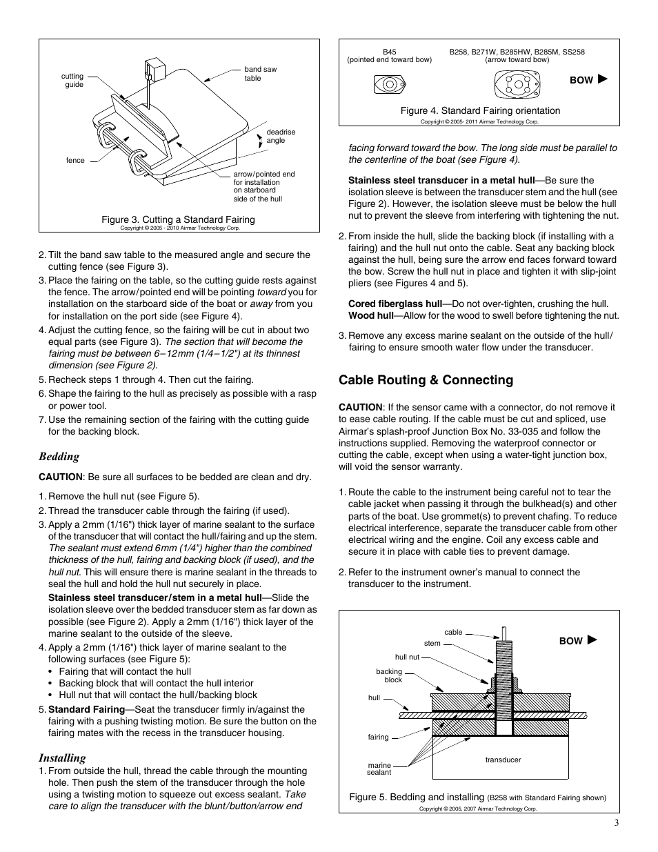Cable Routing Connecting Bedding Installing Airmar B45 User Band Saw Wiring Diagrams Manual Page 3 4