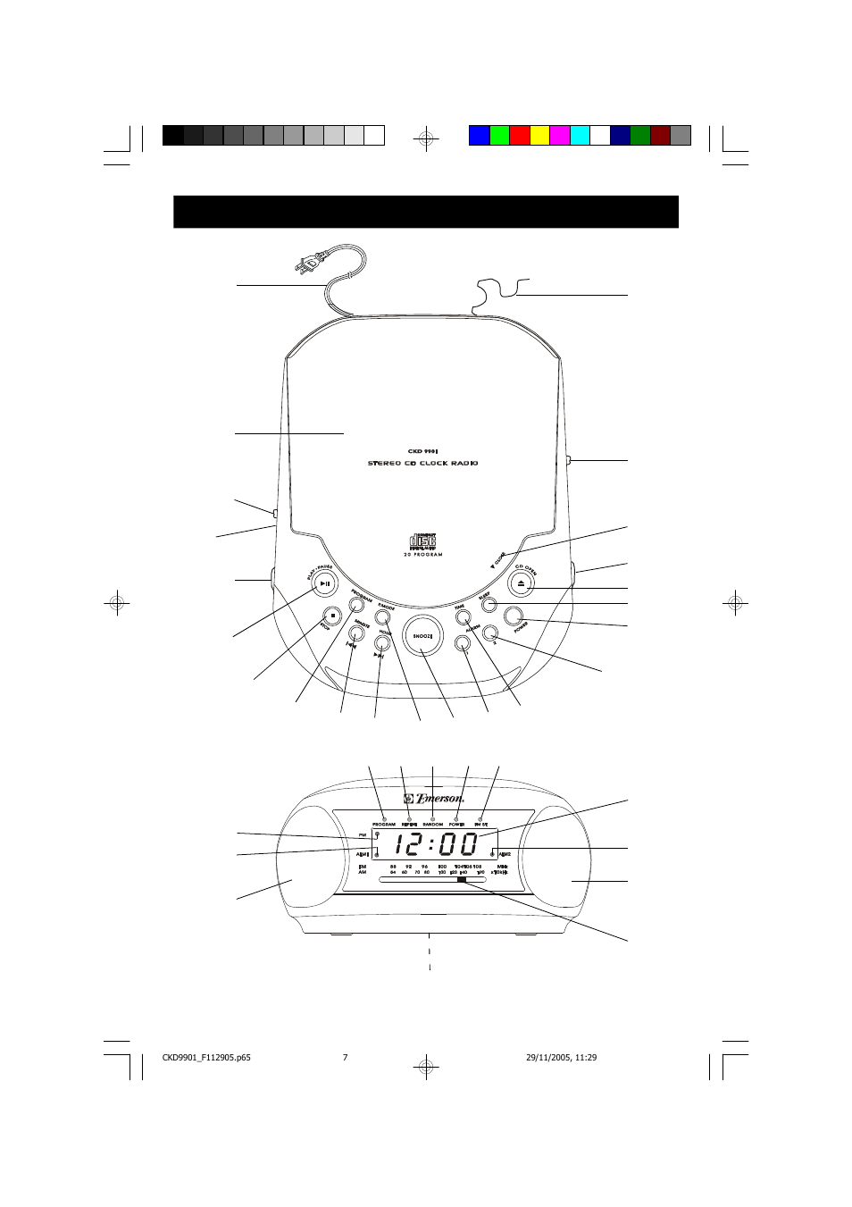 location of controls and indicators emerson radio ckd9901 user rh manualsdir com