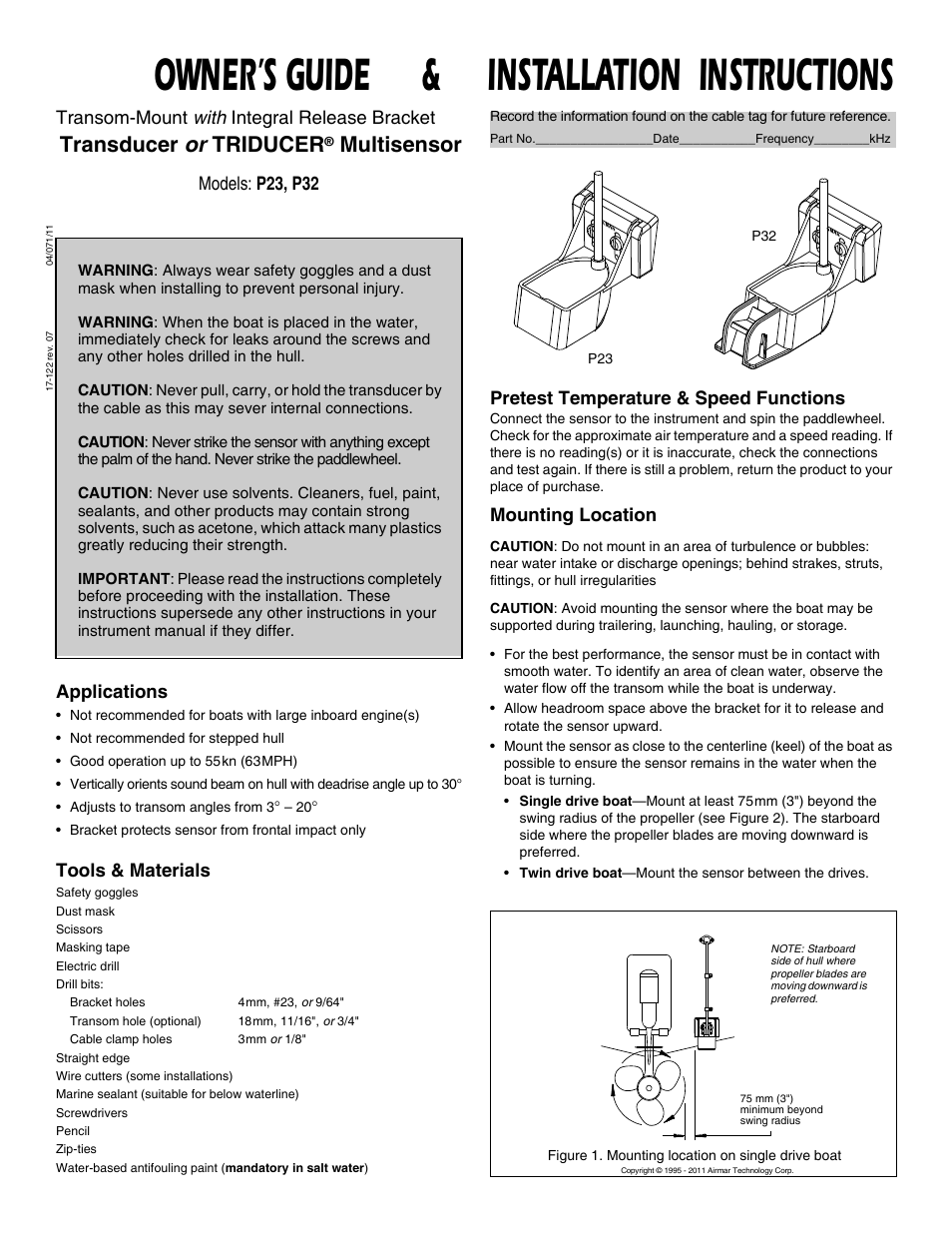 Airmar P23 User Manual   4 pages   Also for: P32