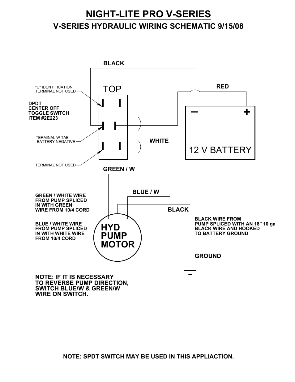 Name Night Lite Pro V Series Hyd Pump Motor 12 Battery Allmand Volt Wiring To Toggle On Off Switch Along With Nite Vertical Tower User Manual Page 78 90