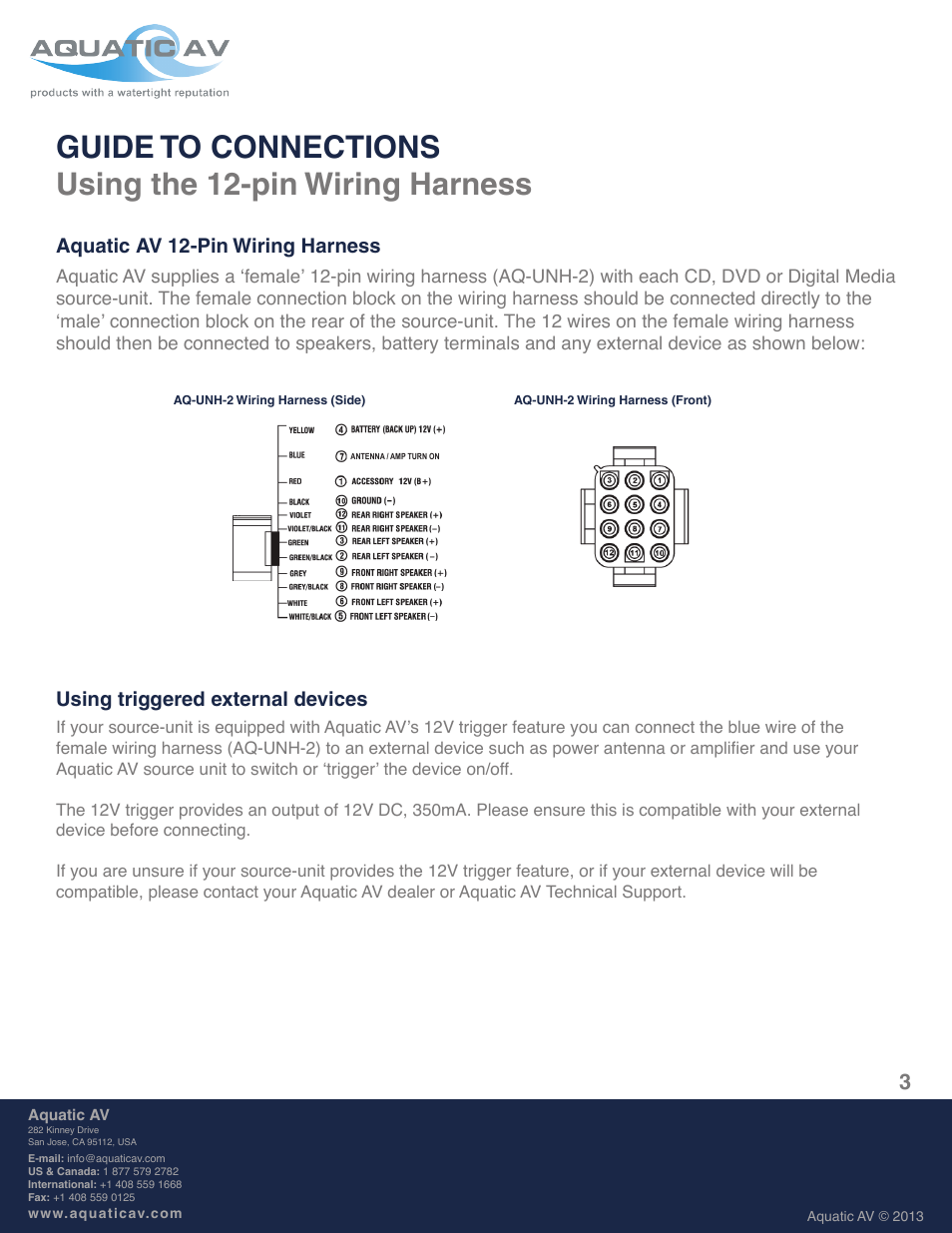 Aquatic Av 12 Pin Wiring Harness Using Triggered External Devices Male Wire Speaker User Manual Page 3 8