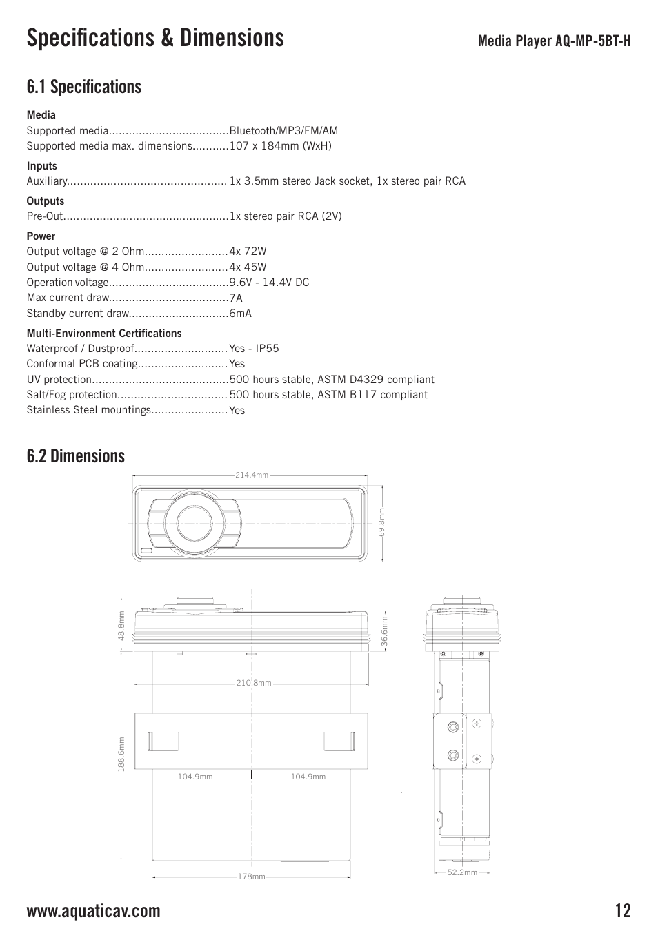 specifications dimensions 1 specifications 6 2 dimensions media rh manualsdir com Aquatic AV Harley Installation Manual Aquatic iPod Stereo