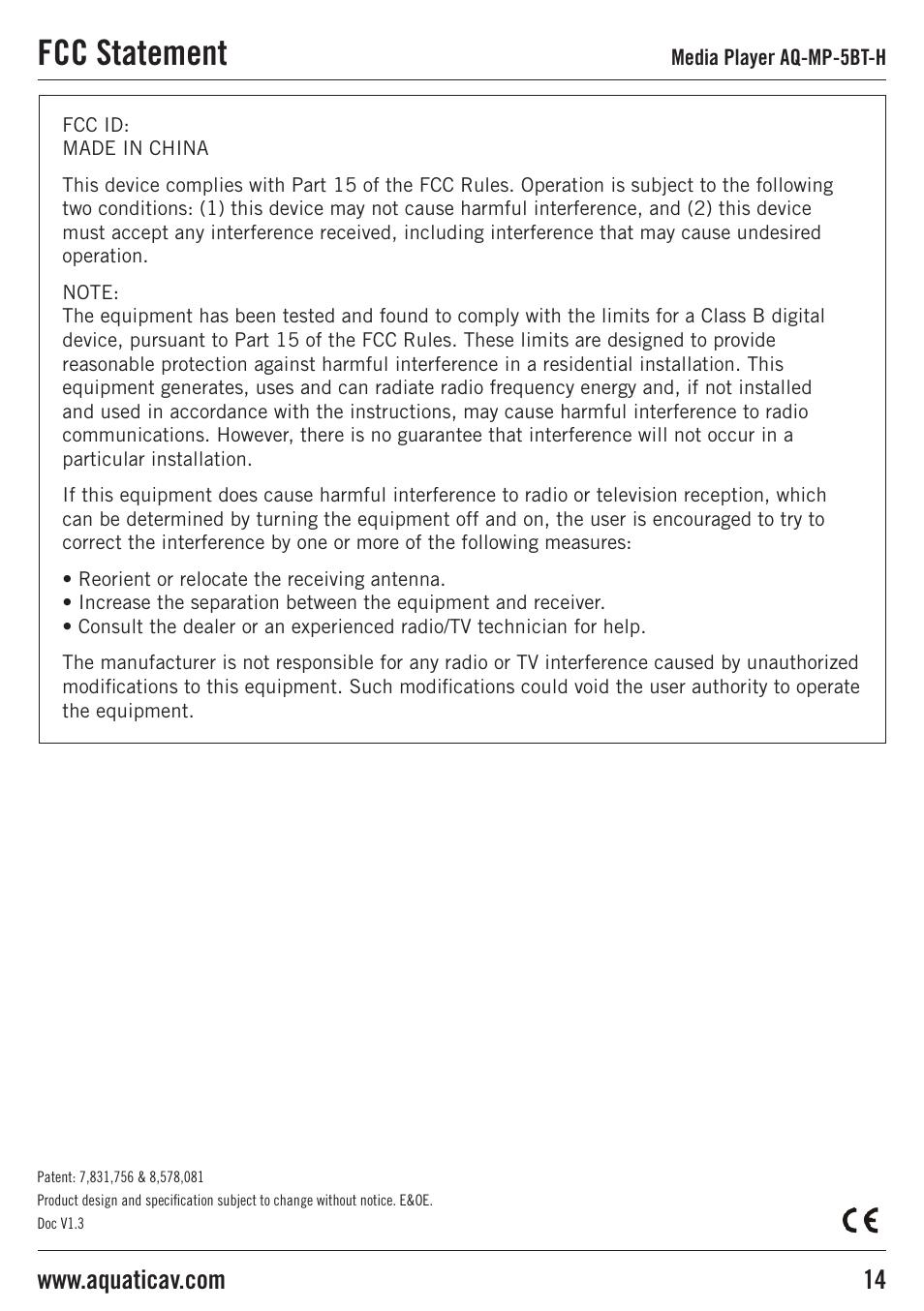 fcc statement aquatic av aq mp 5bt h user manual page 14 15 rh manualsdir com aquatic av owners manual Aquatic AV Wiring