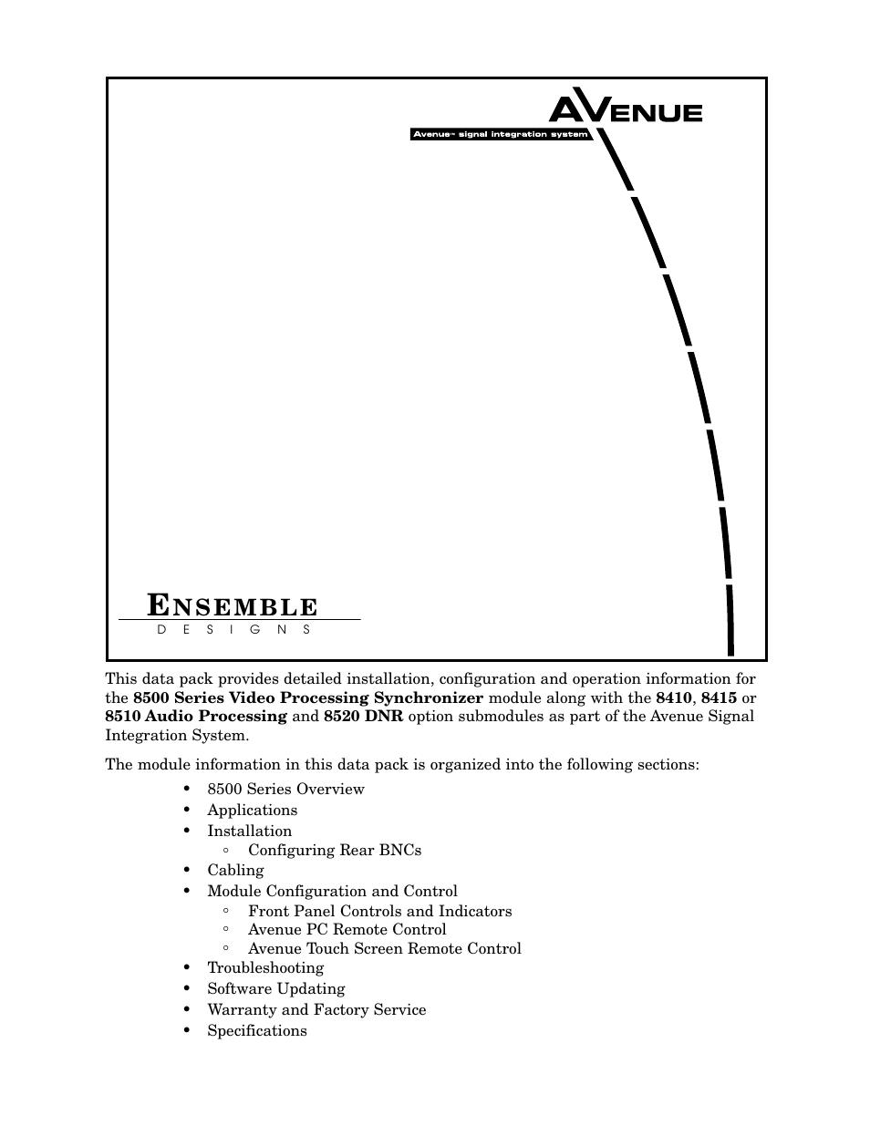 Ensemble Designs 8500 Composite / SD Legalizer and Video Processing ...
