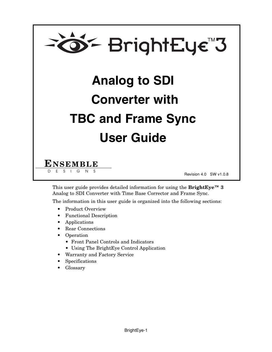 Ensemble Designs BrightEye 3 Analog to SDI Converter with TBC and ...