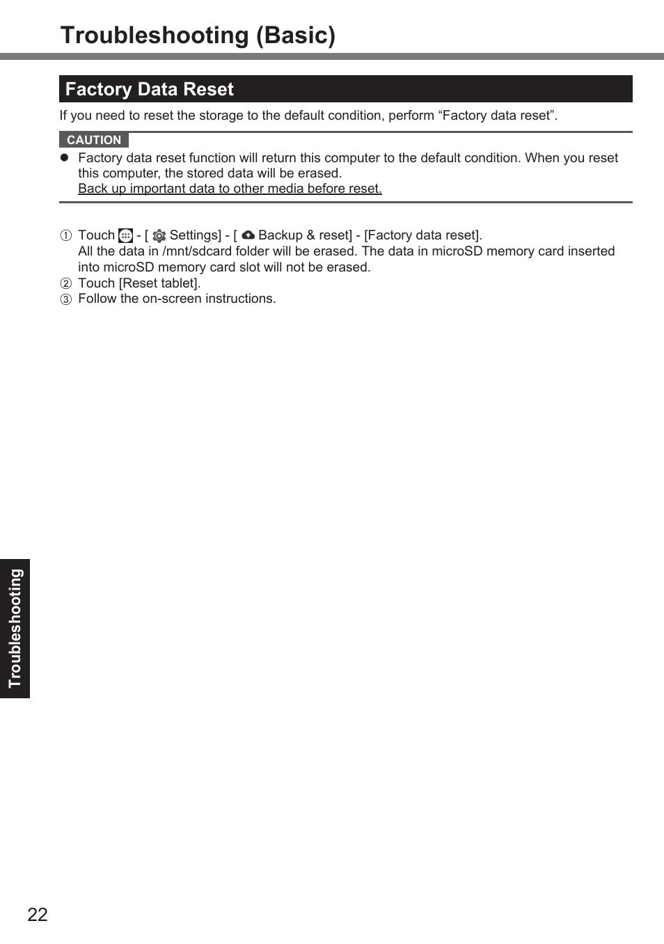 Troubleshooting (basic), Factory data reset | Panasonic Toughpad FZ