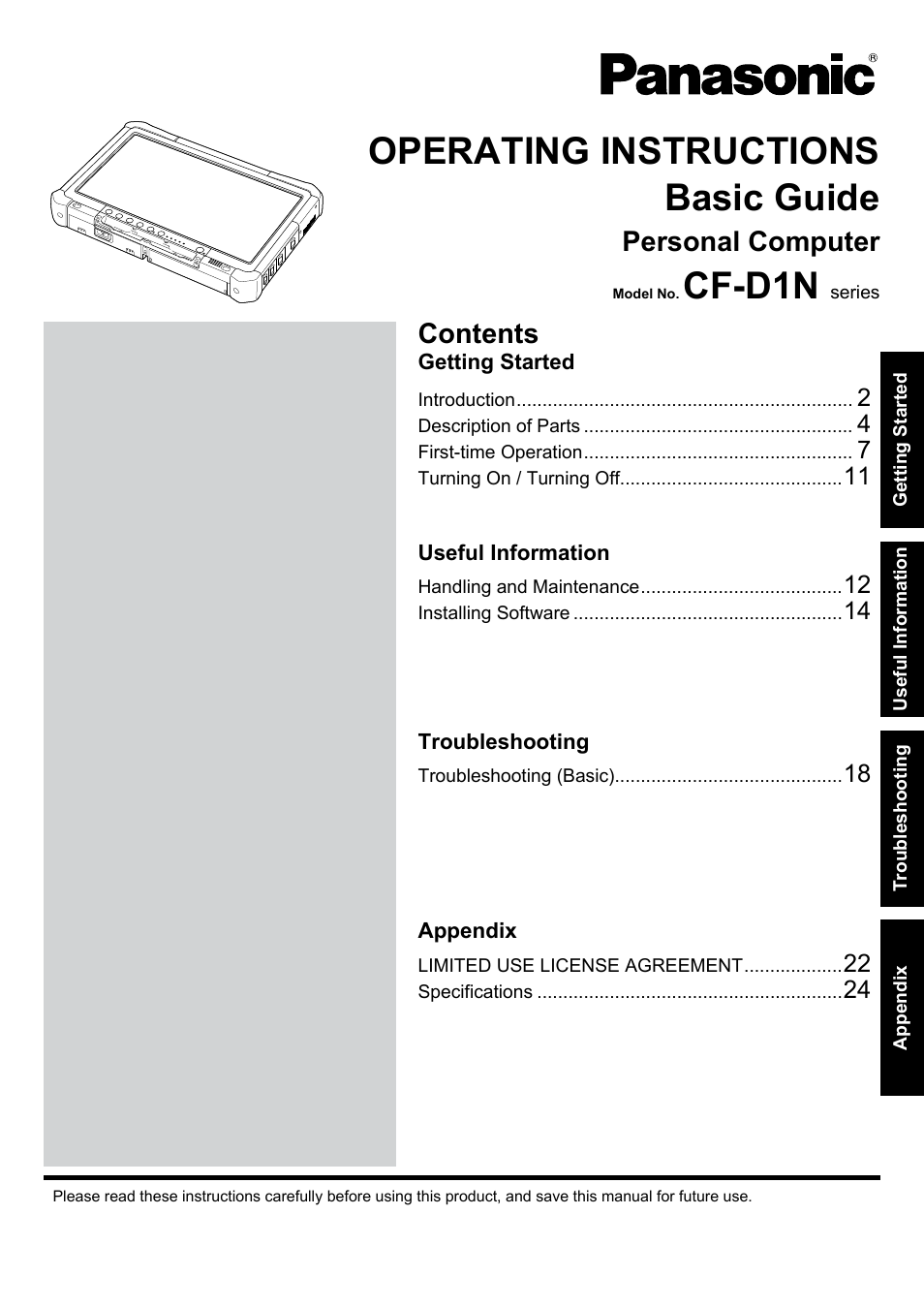 Panasonic toughbook cf d1 user manual 27 pages sciox Image collections