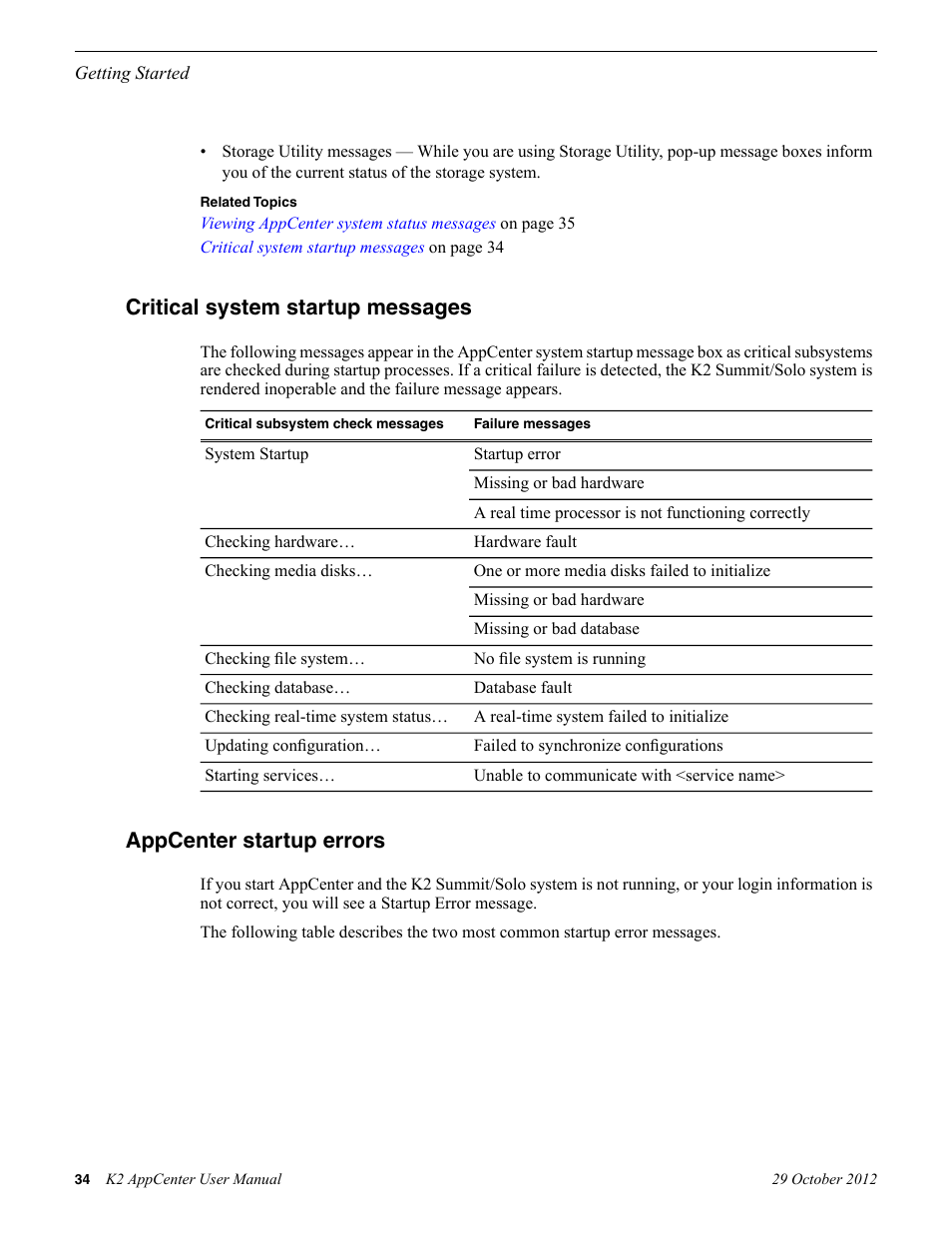Critical system startup messages, Appcenter startup errors