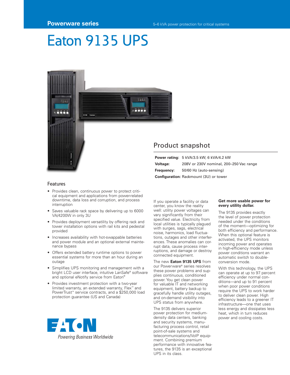 eaton electrical 9135 user manual 6 pages rh manualsdir com eaton 9135 user manual Call 495 9135