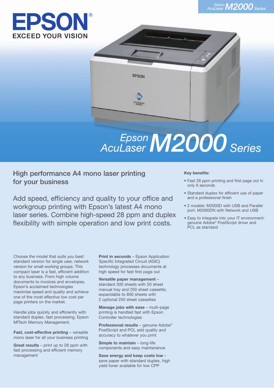 Epson Aculaser M2000 инструкция