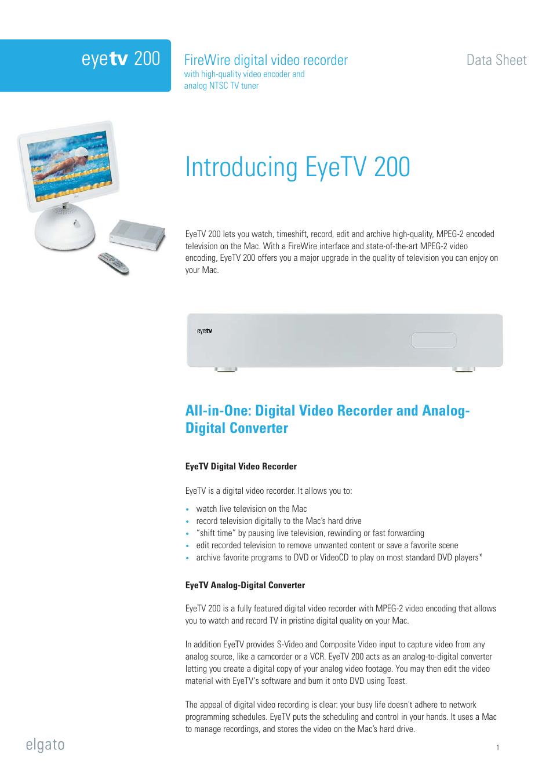 Elgato EyeTV 200 User Manual   6 pages
