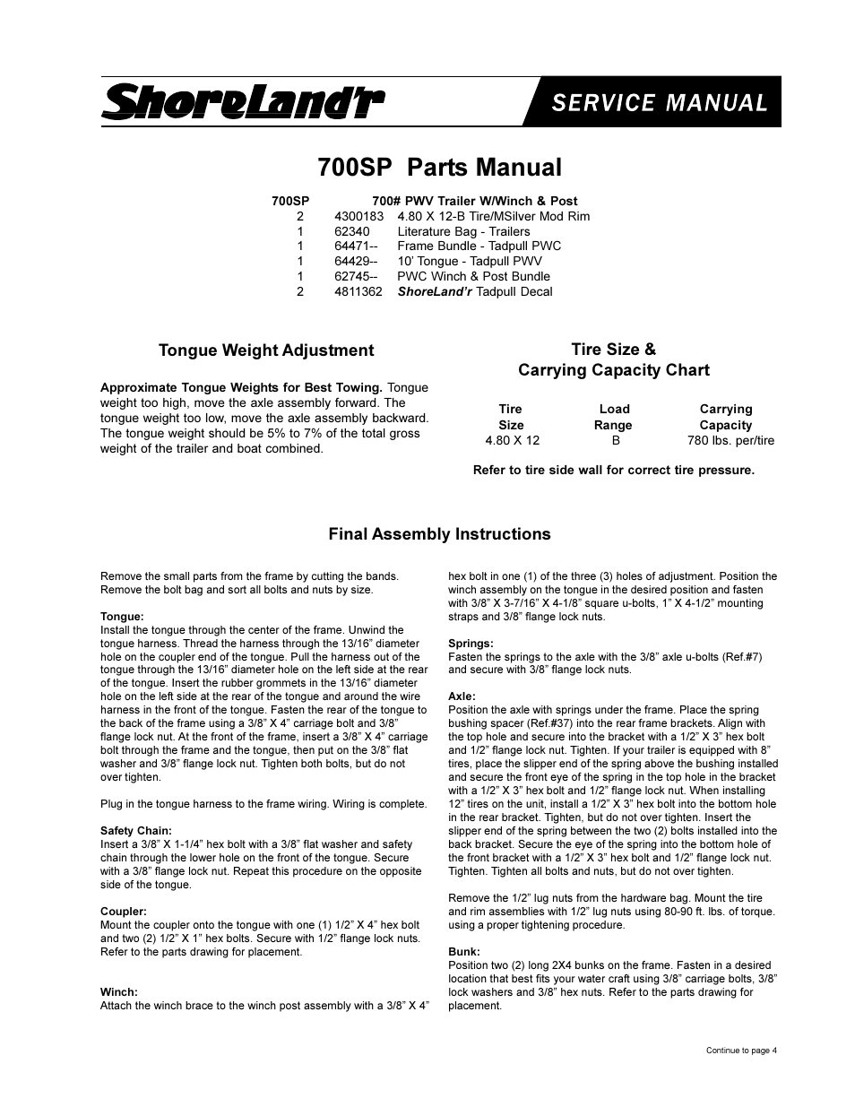 ShoreLand'r 700SP User Manual | 4 pages