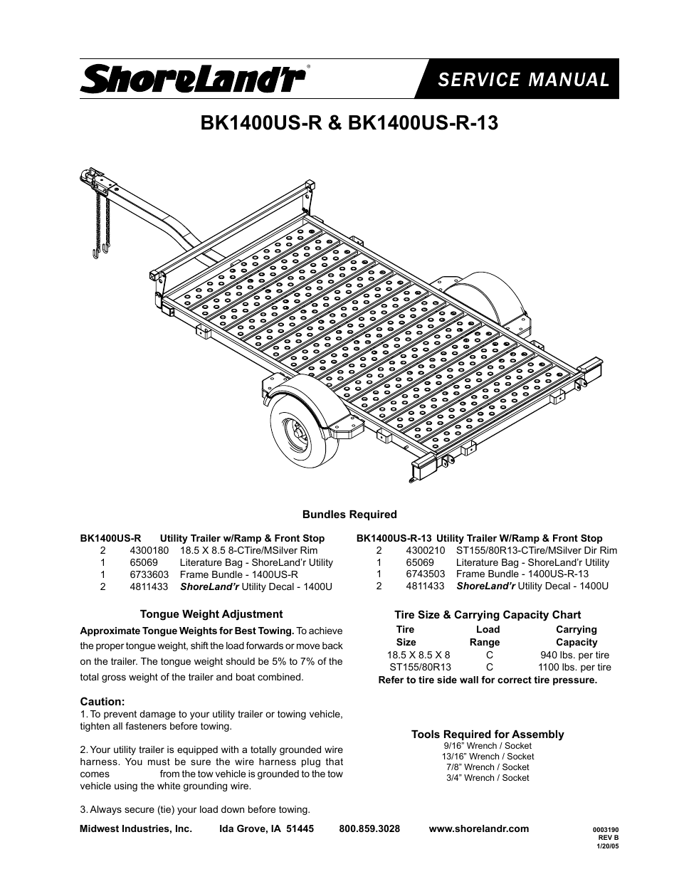 Shorelandr Bk1400us R V2 User Manual 4 Pages Utility Trailer Wire Harness