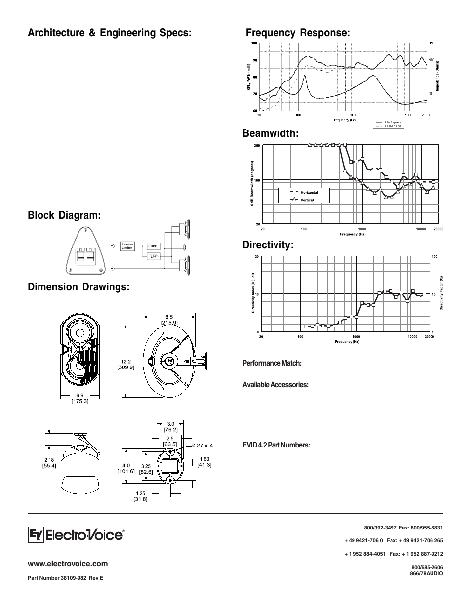 Architecture & engineering specs, Dimension drawings | Electro-Voice  Compact Full-Range Speaker