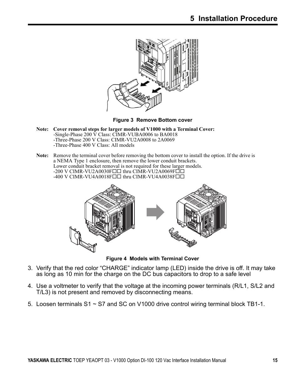 5 installation procedure   Yaskawa V1000 Option - DI-100 120 Vac Interface User Manual   Page 15 / 28