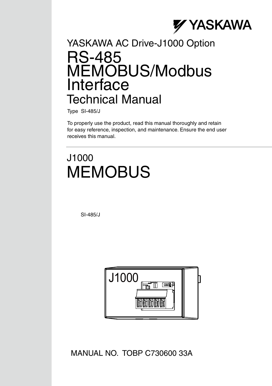 Yaskawa RS-485 MEMOBUS User Manual | 30 pages | Original mode on