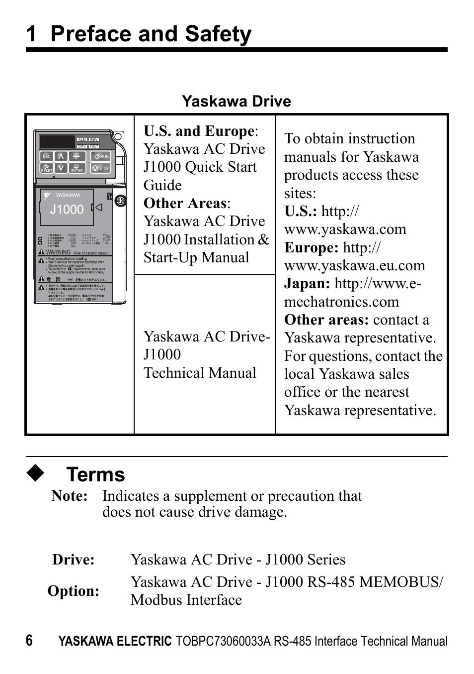 Terms 1 Preface And Safety Yaskawa Rs 485 Memobus User Manual