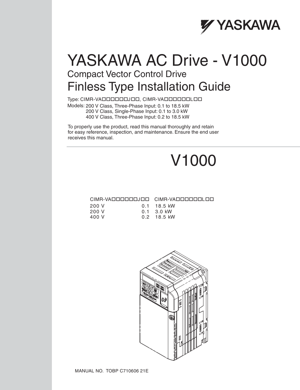 Yaskawa V1000 Finless Type User Manual   26 pages