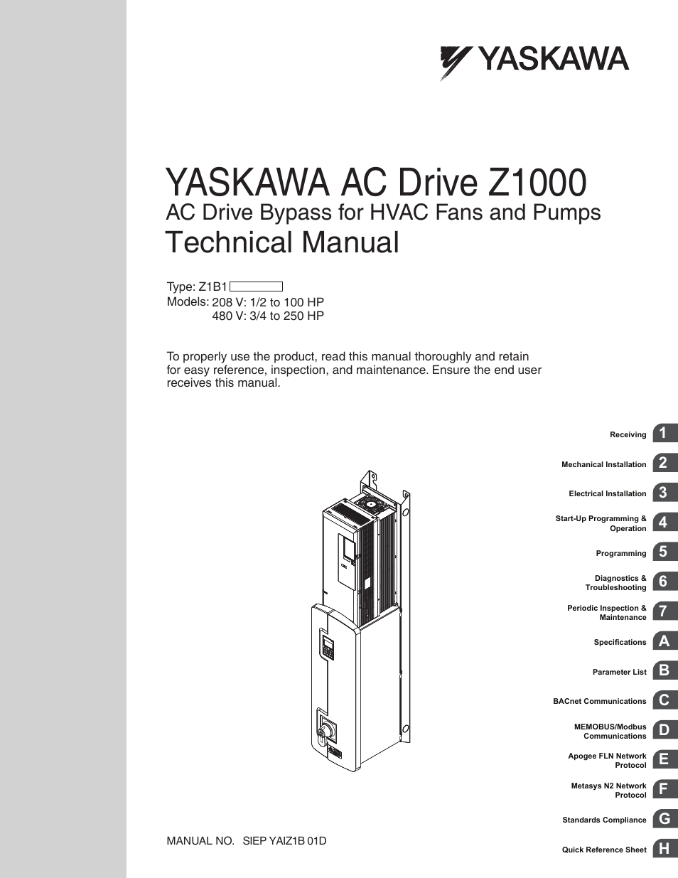 Yaskawa Ac Drive Z1000 Bypass Technical Manual User Manual