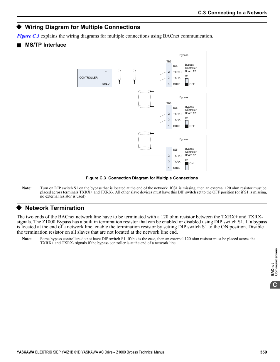 Wiring diagram for multiple connections network termination mstp wiring diagram for multiple connections network termination mstp interface yaskawa ac drive z1000 bypass technical manual user manual page 359 462 asfbconference2016 Gallery