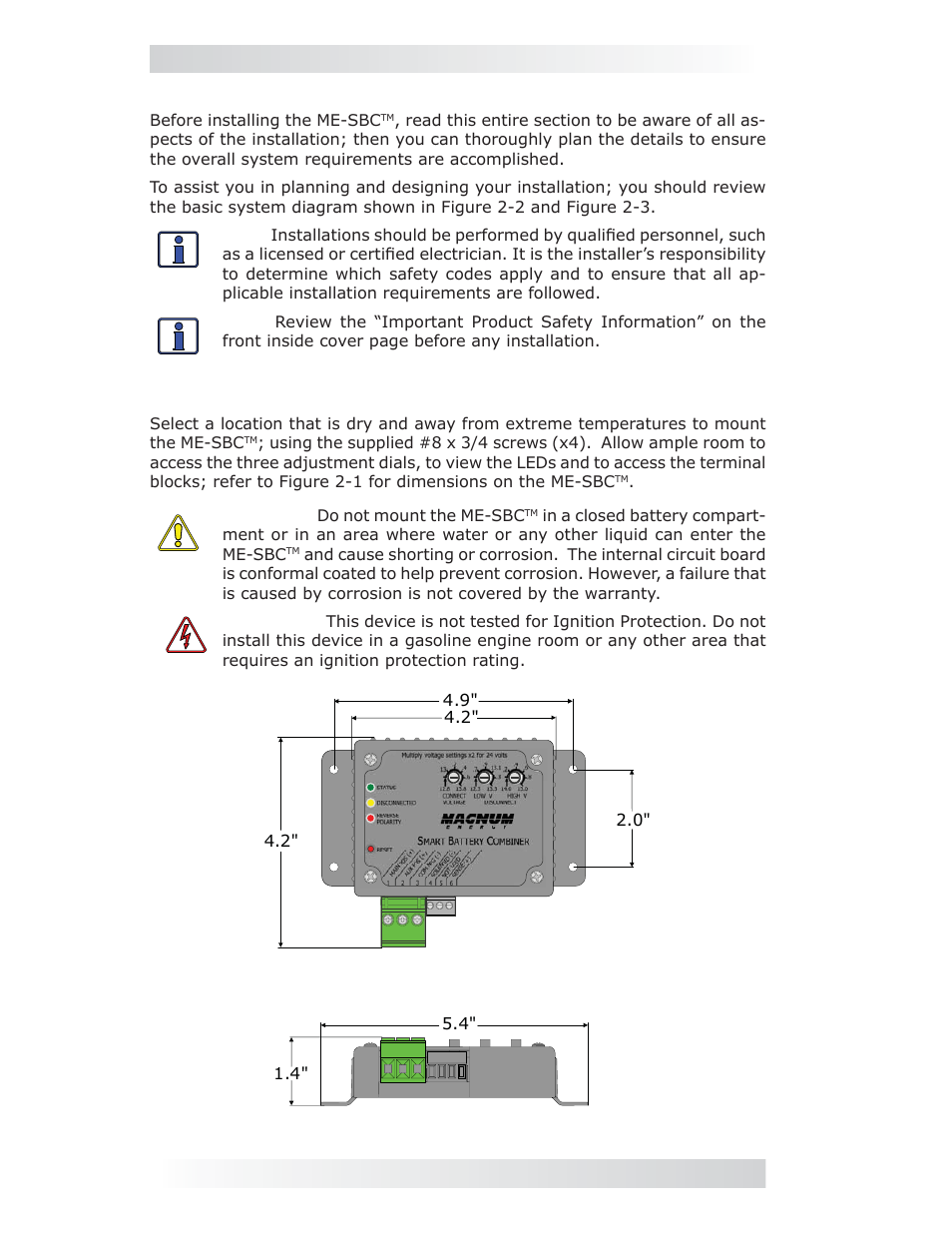 Installation, 0 installation, 2 location and mounting ... Magnum Smart Battery Combiner Wiring Diagram on