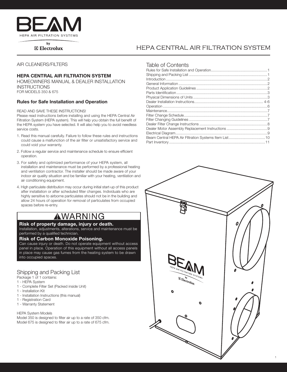 ... Array - beam electrolux hepa air filter central user manual 12 pages rh  manualsdir ...