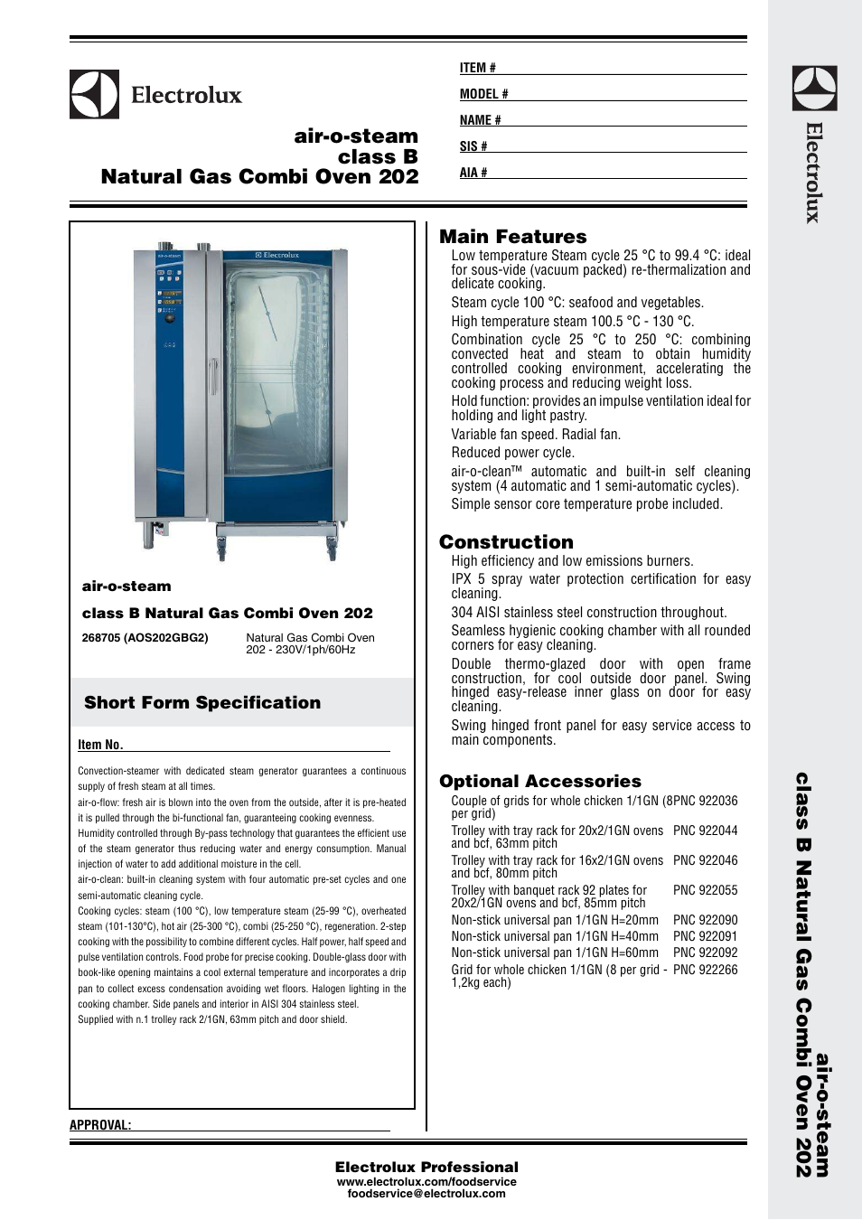 electrolux air o steam natural gas combi oven 202 user manual 3 pages rh manualsdir com electrolux steam oven manual electrolux air o steam combi oven service manual