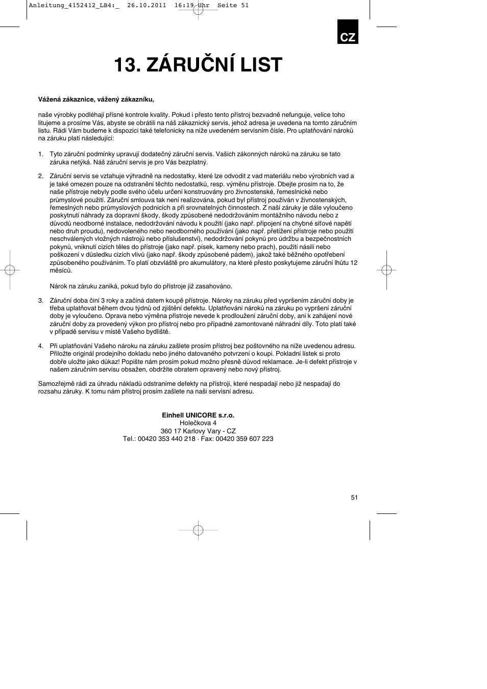 Záruční list   Parkside PSE 2800 A1 User Manual   Page 51 / 88 ...