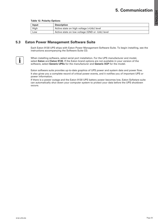 Communication, 3 eaton power management software suite