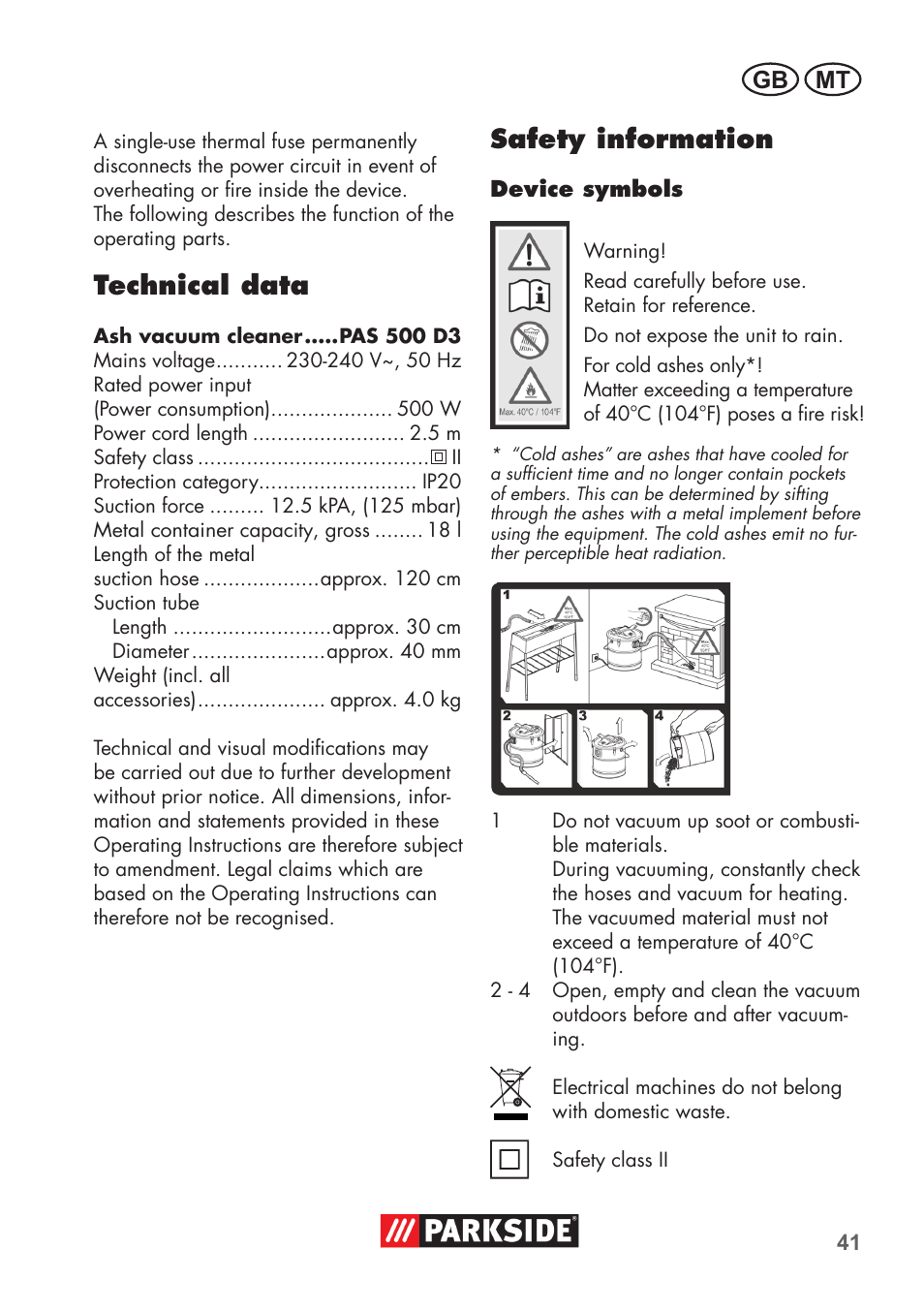 Technical Data Safety Information Gb Mt Parkside Pas 500 D3 User Cold Electricity Circuit Manual Page 41 66