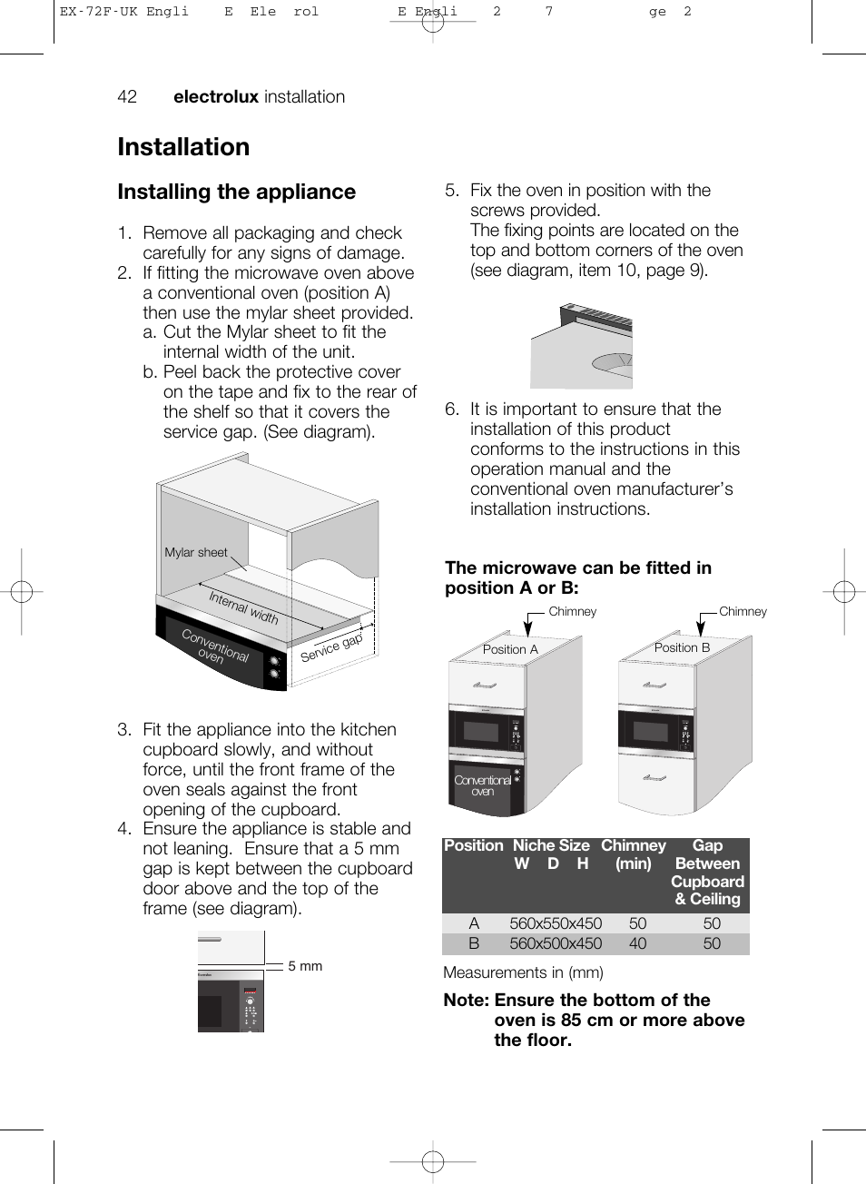 Installation Installing The Appliance Electrolux Ems26405 User Wiring Diagram Photos For Help Your Manual Page 42 52