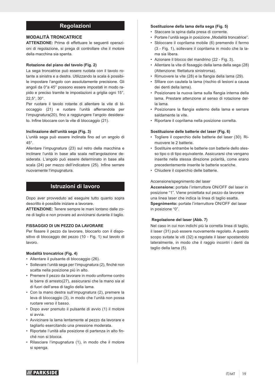 Regolazioni istruzioni di lavoro parkside pks 1500 a1 for Troncatrice parkside