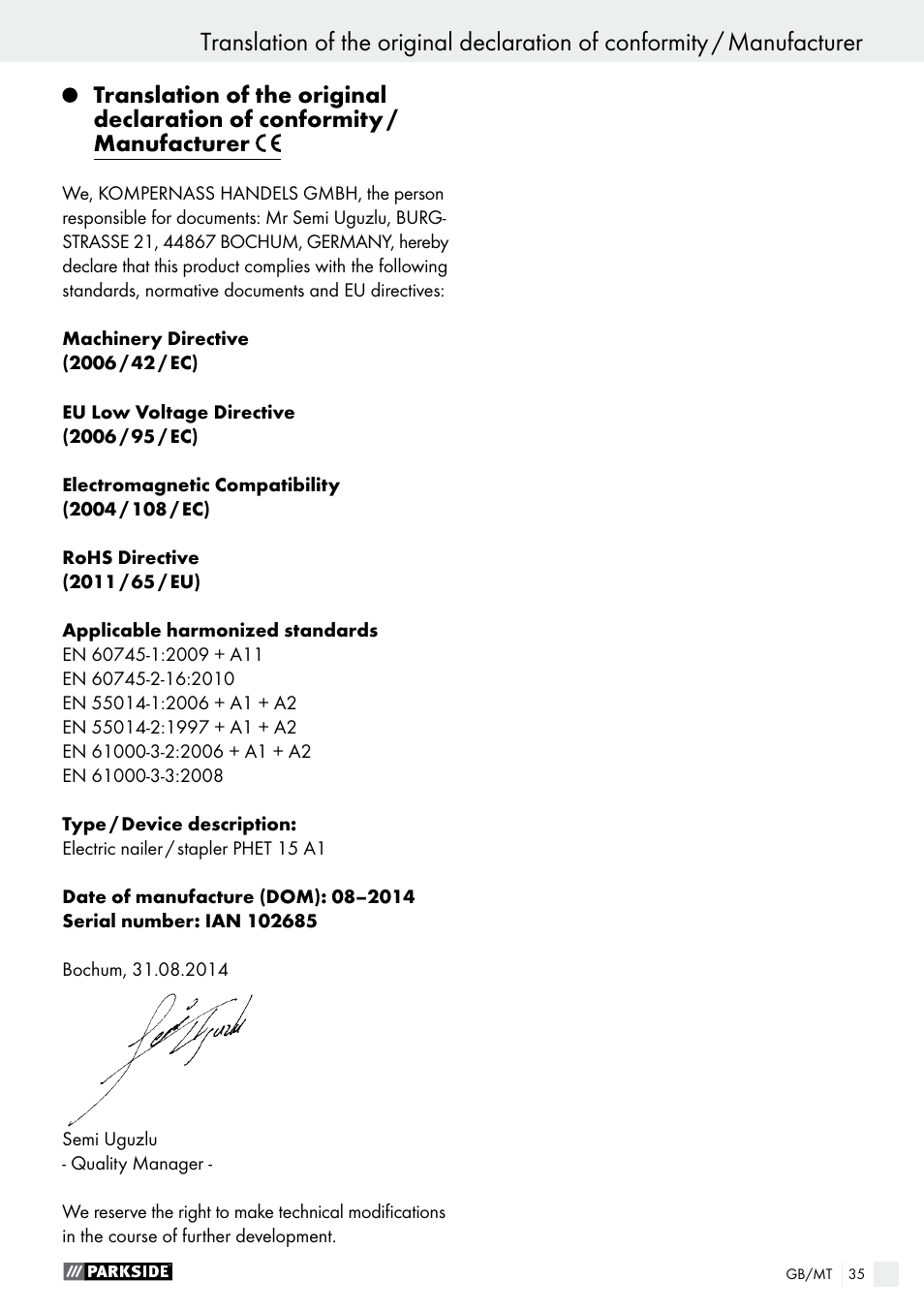 Warranty / disposal | Parkside PHET 15 A1 User Manual | Page 35 / 44