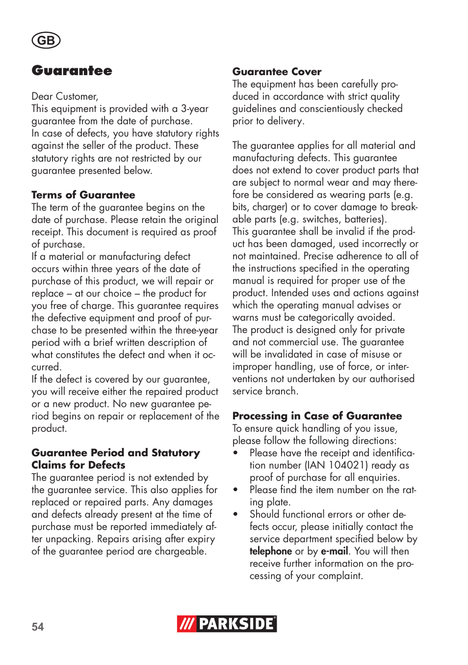 Guarantee | Parkside PSSA 3.6 C3 User Manual | Page 54 / 58