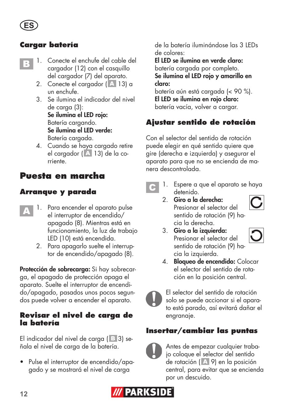Puesta en marcha | Parkside PSSA 3.6 C3 User Manual | Page 12 / 74